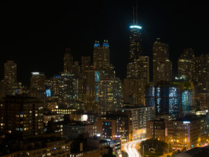A long exposure of traffic leaving downtown Chicago.