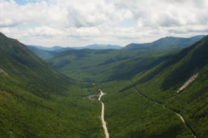 A valley filled with lush green trees below Mt. Willard.