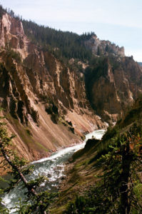 In Yellowstone Grand Canyon deep and rugged canyon walls are divided by a fast flowing river.